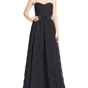 Adrianna Papell Black Rosette Gown, Worn one time